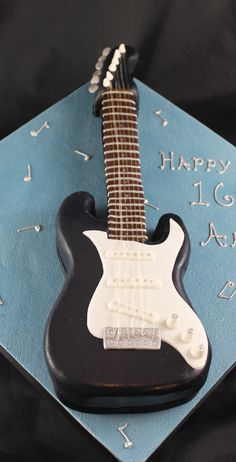 Electric guitar cake Guitar Birthday Cakes, Guitar Cake, Music Themed Cakes, Music Cakes, Dad Cake, 50th Cake, Piano Cakes, Pastry Design, Novelty Cakes