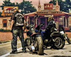 Sons Of Anarchy . by Rat Rod Studios LOVe this show Estilo Cafe Racer, Cheap Canvas Art, Harley Davidson, David Mann Art, Sons Of Anarchy Motorcycles, Sons Of Anarchy Samcro, E Motor, Jax Teller, Motorcycle Clubs