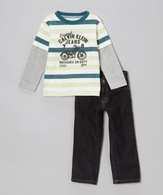 Take a look at this Teal Stripe Layered Tee & Jeans - Infant, Toddler & Boys on zulily today!