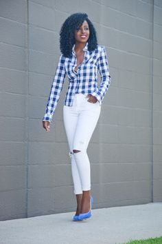 Gingham Button-Down Shirt + Distressed White Jeans