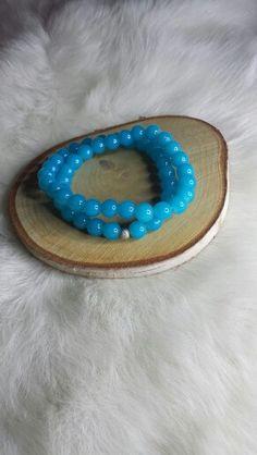 ALL aquamarine glass double twist bracelet