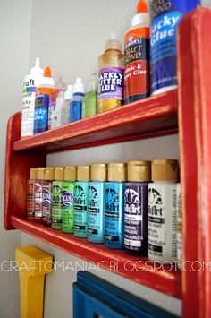 Take a thrifted shelf, paint it, and use if for paints, glitter, glue, etc.