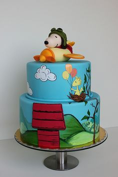 Snoopy Cake---I love Snoopy! This is so cool!