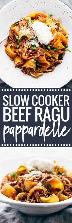 Slow Cooker Beef Ragu with Pappardelle - easy comfort food from the new Skinnytaste cookbook! Pop it all in a slow cooker and let it simmer all day. Crock Pot Slow Cooker, Slow Cooker Recipes, Beef Recipes, Cooking Recipes, Healthy Recipes, Veggetti Recipes, Tilapia Recipes, Chicken Recipes, Slow Cooking