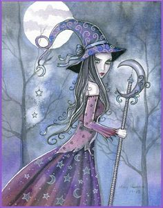 Molly Harrison Fantasy Witch Art, Vampire Art, and Halloween Art Prints Gothic Halloween, Halloween Art, Halloween Witches, Desenhos Halloween, Witch Pictures, Witch Pics, Beautiful Witch, Witch Art, Fairy Art