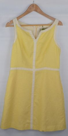 Vintage Inspired Yellow Linen Dress Uk 12 #usedclothes #dress #vintage #retro