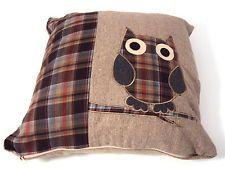 Brown/Beige Check/Tartan Applique Owl Design Cushion