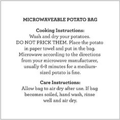 Photos by Marilyn Nimz A few Christmases ago, Kaleb and I were fortunate enough to receive a microwaveable potato bag as one of our sto. Baked Potato Microwave, Microwave Bowls, Quilting Projects, Sewing Projects, Sewing Crafts, Fabric Crafts, Diy Projects, Sewing Hacks, Sewing Ideas