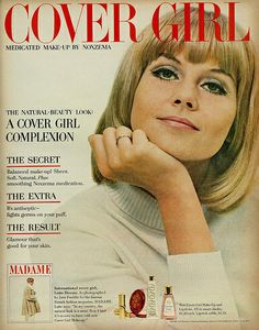 1965 Cosmetics Ad, Cover Girl Make-up by Noxzema, with Lovely International Cover Girl Lotte Dessau