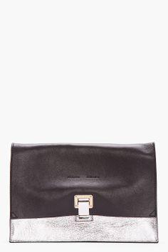 PROENZA SCHOULER Small Black & Metallic Silver LEather Lunch Bag Clutch