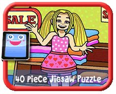 Girl Shopping - 40 Piece Online jigsaw puzzle for kids