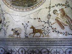 Roman Mosaic. Bardo Museum.Tunisia.  Various details of Mosaics in museums in Tunis and El Jem, Tunisia. Dog and gardener