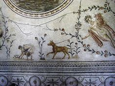 Roman Mosaic. Bardo Museum.Tunisia.  Various details of Mosaics in museums in Tunis and El Jem, Tunisia. Dog and gardener