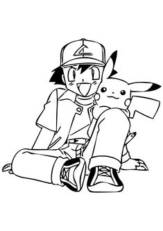 pikachu with hat coloring pages - photo#30