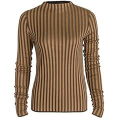 Black and Gold Stripe Knit Top (820 CAD) ❤ liked on Polyvore featuring tops, stripe top, knit top, black and gold top, striped knit top and striped top