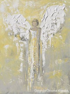 Lighting the Way - 24x18 ORIGINAL art, abstract, angel painting depicting guardian angel, providing light, inspiration and comfort. This hand-painted, contemporary, spiritual piece possesses not only a comforting sense of an angel watching over and guiding, but with its gentle shades of white, pale gold and soothing grey & textured layers of paint, it also contains a vintage, stylish, organic feel, perfect for any decor. Created with a soft, neutral palette of white, grey, taupe, pale gold…