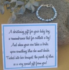 Boys Christening and Baptism Bracelet, Blue Pearls and Crystals, Sterling Silver Cross, Heirloom. Christening Gifts For Boys, Baby Boy Baptism, Boy Christening, Baptism Party, Baptism Ideas, Poems For Boys, Baby Shower Gifts, Baby Gifts, Baby Blessing