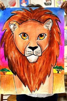 grade week 7 Great lesson for mixing colors! And would work well with my African Art unit. African Art Projects, Animal Art Projects, Classroom Art Projects, School Art Projects, Tiger Painting, 6th Grade Art, Art Lessons For Kids, Africa Art, Lion Art