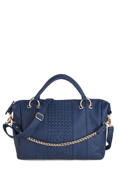 Basket in the Glory Bag - Blue, Solid, Chain, Woven, Faux Leather