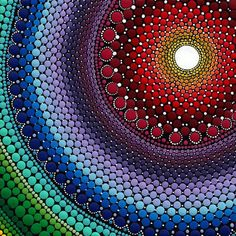 "MANDALA Dot Art 6x6"" Dotillism, Pointillism, Hand-Painted Original ..."