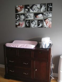 Idea for living room, but with family photos. or cute for baby room with photos of family and baby!