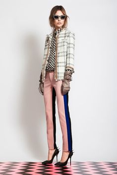 3 stripes you're out! -cream plaid jacket, checkered black/cream shirt, striped tuxedo pants in pink, blue, and black, spiked stilettos, and taupe leather gloves