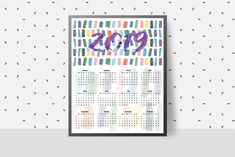 Print Calendar, Yearly Calendar, Calendar 2020, Digital Prints, Digital Art, Desk Calendars, Weekly Planner, Brush Strokes, Paper Goods