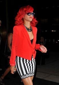 Rihanna in red blazer & striped mini skirt Star #Fashion Style