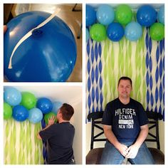 The Adventure Starts Here: Balloon and streamer backdrop for 1st Birthday Party