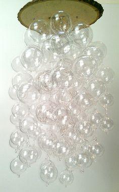 CUSTOM LED hand blown glass bubble chandelier by hammersheels,