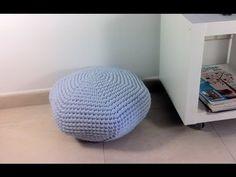 DIY Tutorial: How to Crochet a T-shirt Yarn Pouf
