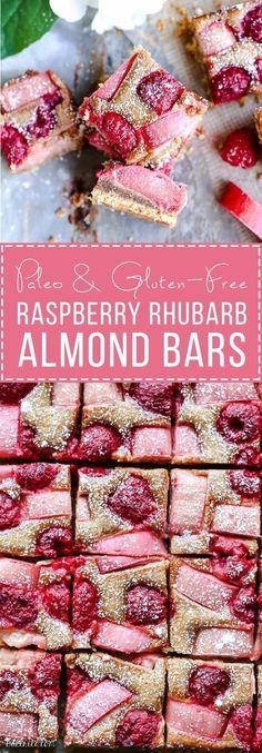 These Raspberry Rhubarb Almond Bars have an crisp almond flour crust topped with soft almond frangipane, fresh raspberries, and tart rhubarb. This recipe is Paleo, gluten free + refined sugar free.