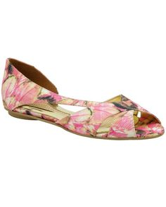 Pink and green floral flats