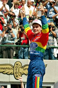 Jeff Gordon after winning the inaugural Brickyard 400 in 1994.  (Photo:  AP Photo/Tom Russo) I was there!