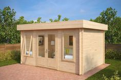 Jacob D is a perfect example of a modern, wooden garden office or NEW looking hobby room. The bright and spacious Jacob D has French doors and longer windows, allowing light to illuminate the inside of the garden log cabin. Jacob D is also quick and easy for DIY installation.
