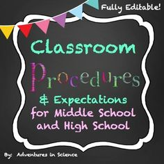 Having classroom procedures and expectation in place for the first day of school can make all the difference in how your year goes. Set the right tone in your Middle School or High School class from the very first day with my Classroom Procedures and Expectations! By taking the time to have a well-managed class, you won't have to take the time later on to discipline your class. Procedures really do work! $