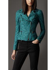 Burberry | Green Cropped Lace Biker Jacket | Lyst
