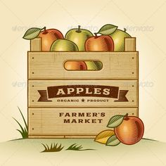 Retro Crate of Apples  #GraphicRiver         Retro wooden crate of apples in woodcut style. Editable EPS10 vector illustration with clipping mask and transparency. Texts on this illustration are my handmade work and not editable.     Created: 20July13 GraphicsFilesIncluded: JPGImage #VectorEPS Layered: Yes MinimumAdobeCSVersion: CS Tags: agriculture #apple #banner #box #crate #design #drawing #engraving #farm #farmersmarket #food #fruit #garden #graphic #harvest #illustration #label #leaf…