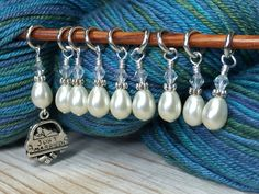 Knitting Stitch Markers - Just Married Snag Free Beaded Stitch Marker Set - Gift for Knitters