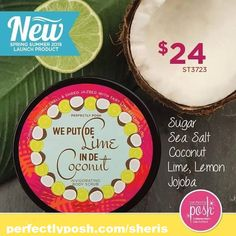 Lime and Coconut smell so could I could make a drink!  Www.perfectlyposh.com/sheris