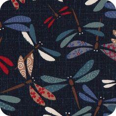Tissu japonais Libellules multico