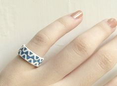 Ceramic Rings  Teal Zig Zag Porcelain Ring by clacontemporary, £25.00