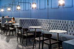 Pedrali at Salone del Mobile 2016 - Inox table, Tivoli chair, Modus soft sitting system, L001 applique lamp