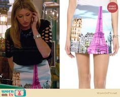 Joss's Eiffel Tower print skirt and black crop top with cutout sleeves on Mistresses.  Outfit Details: http://wornontv.net/33755/ #Mistresses