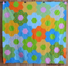 """It's a Friday finished quilt top! Modern Flower Garden - finished at 53.5"""" x 55"""". Whole Hexagon Quilt Below, you will ..."""