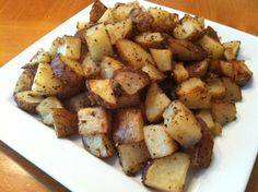 ROASTED  GARLIC-ONION FLAVORED POTATOES - wash and cut the potatoes into small chunks place in a large bowl pour 1 stick of melted butter over the top and toss. Then place in a 9x13 baking dish and sprinkle with garlic salt and onion salt.  Bake at 375 for 45 minutes.  My family always request these for our dinners !