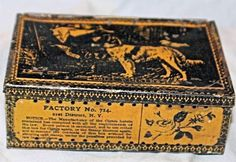 RARE Vintage Prize Winners Cigar Tobacco Tin New York Hunting Dogs Gun Graphic