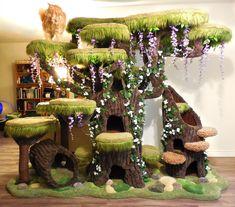 Enchanted Forest Kitty Sanctuary - Dark Home Decor I Adore ❤️ - - Katzen Ideen - Cool Cat Trees, Diy Cat Tree, Small Cat Tree, Cat Tree House, Giant Cat, Cat Towers, Cat Playground, Cat Enclosure, Cat Condo