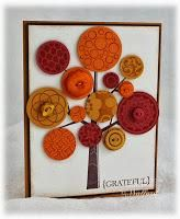Maybe use buttons and scrapbook paper to Do this at school? Tarjetas Stampin Up, Stampin Up Cards, Cute Cards, Diy Cards, Karten Diy, Button Cards, Thanksgiving Cards, Fall Cards, Christmas Cards