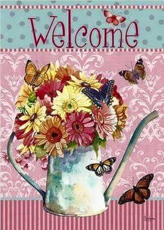 Welkom Decoupage Vintage, Hello Welcome, Beautiful Butterflies, Butterfly Flowers, Vintage Cards, Projects To Try, Creations, Thankful, Paper Crafts